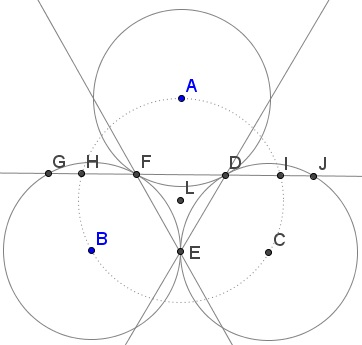 Golden Ratio In Three Tangent Circles