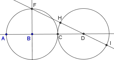 Golden Ratio With Two Equal Circles And a Line