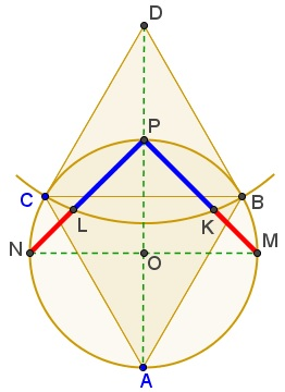 Golden Ratio in Equilateral and Right Isosceles Triangles, Construction 1