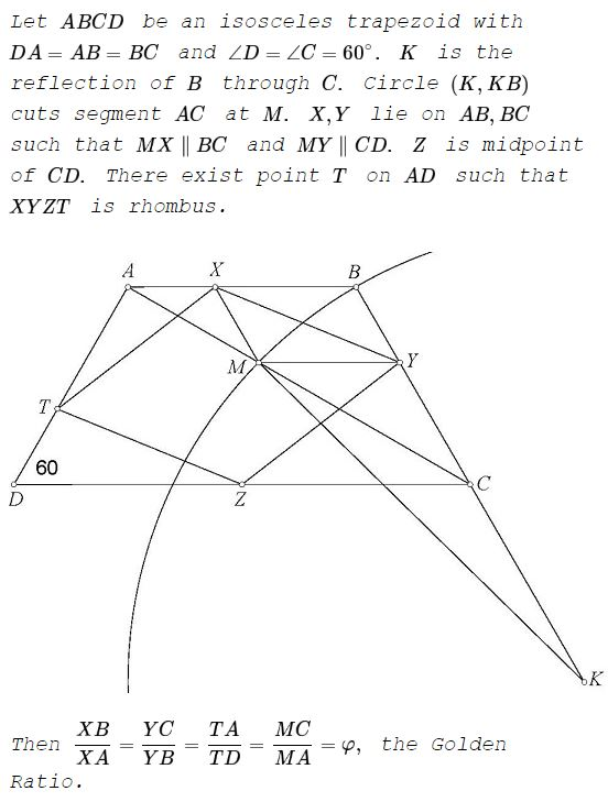 Golden ratio in an isosceles trapezoid with a 60 degrees angle golden ratio in an isosceles trapezoid with a 60 angle problem ccuart Choice Image