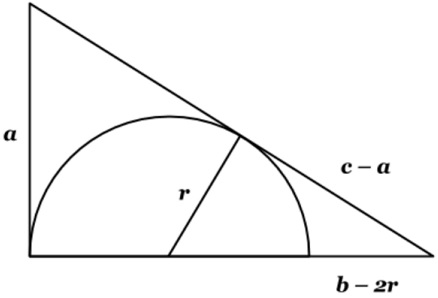 how to find area of triangle in a semicircle