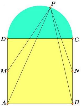 Semicircle on Square - problem