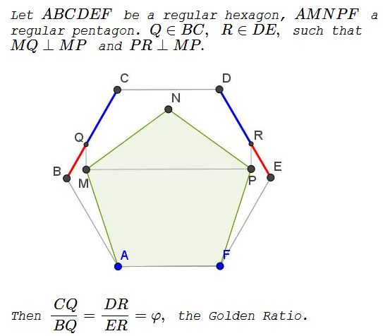Golden Ratio in 5-gon and 6-gon