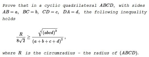 An inequality in cyclic quadrilateral ccuart Gallery