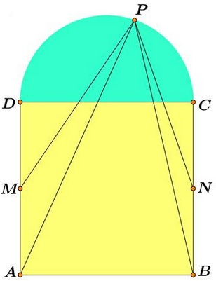 Semicircle on Square - problem