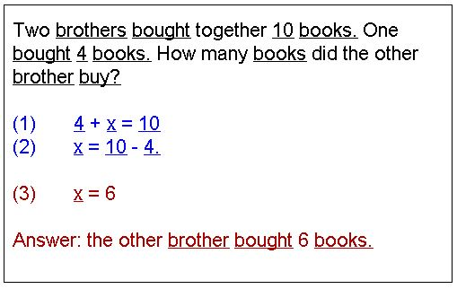 Word problems that lead to simple linear equations